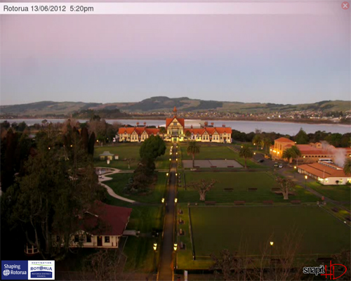 Rotorua Webcam overlooking the Rotorua Museum and Government Gardens