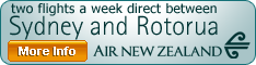 Sydney-Rotorua direct trans-tasman flights from Dec 12, 2009 with Air New Zealand